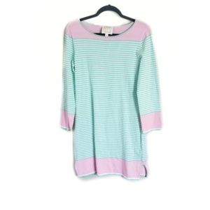 Sail to Sable Striped Mint Pink Knit Sweater Dress